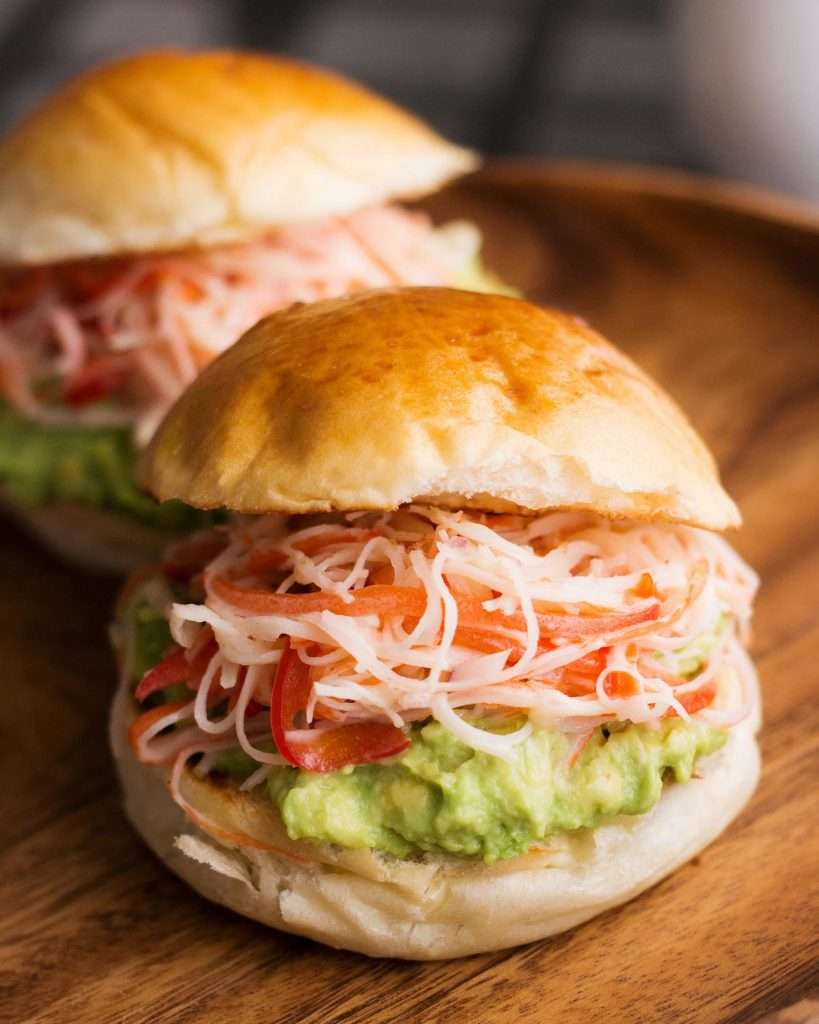 close-up photo of crab and avocado sandwich