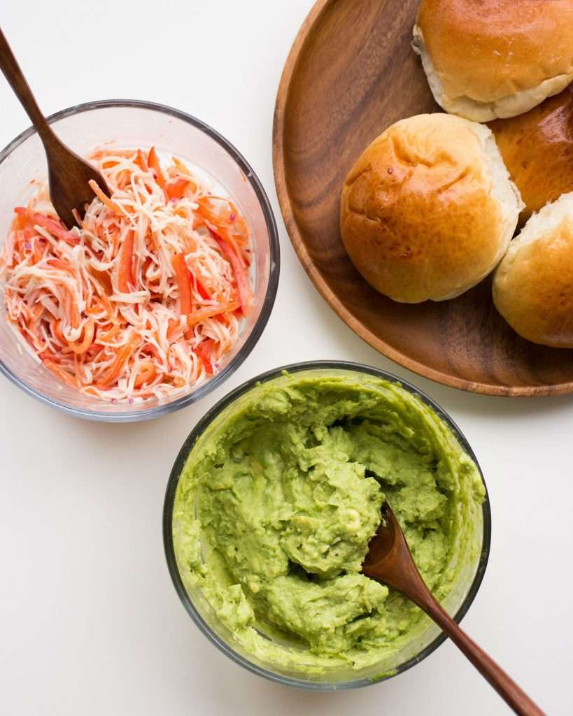 prep photo of crab and avocado sandwich