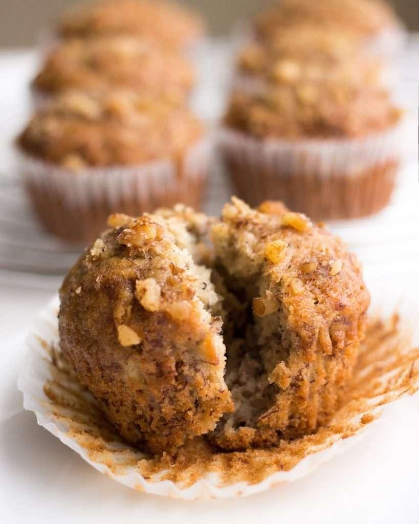 close-up photo of banana nut muffin