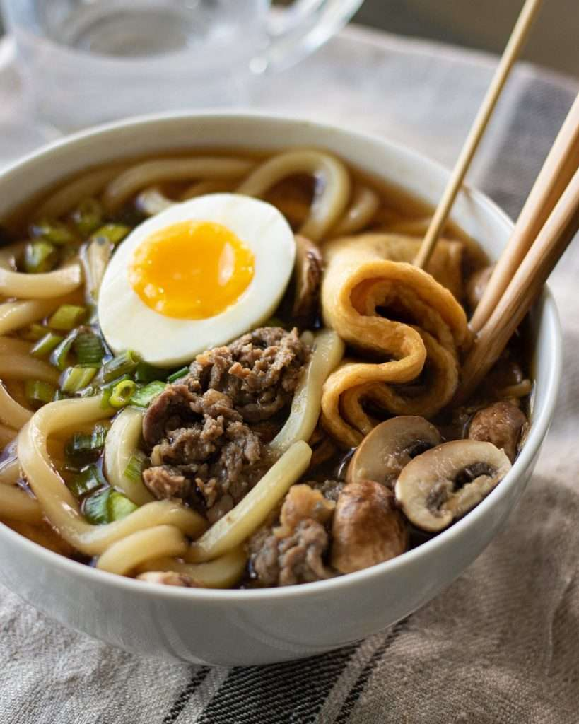 Close up of Sukiyaki beef udon